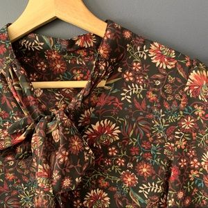 Floral Plum Tunic Dress with necktie - Size Small